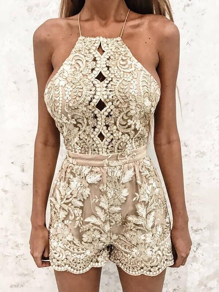 Sexy Emborided Lace Backless Romper