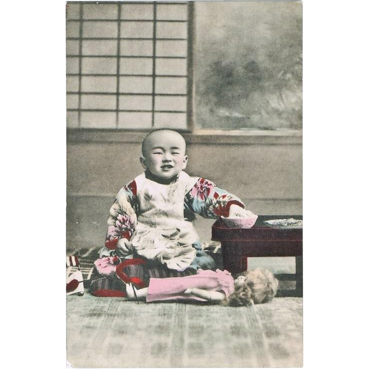 Japanese Child with Western Doll, Vintage postcard from curioshop on Ruby Lane