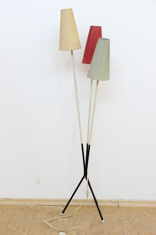 50er Jahre Design Stehlampe Lampe Mit 3 Schirmchen Aus Textil