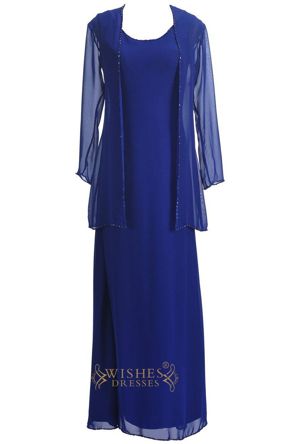 Aline royal blue chiffon mother of the bride dress with jacket