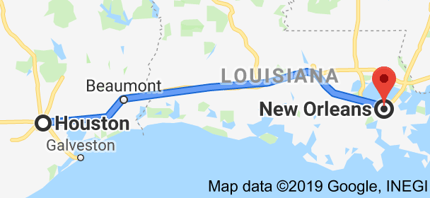 Map from Houston, Texas, USA to New Orleans, Louisiana, USA ...