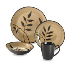 Gibson Elite® Midnight Palm 16-Piece Dinnerware Set - Bed Bath u0026 Beyond  sc 1 st  Pinterest & Gibson Elite® Midnight Palm 16-Piece Dinnerware Set - Bed Bath ...