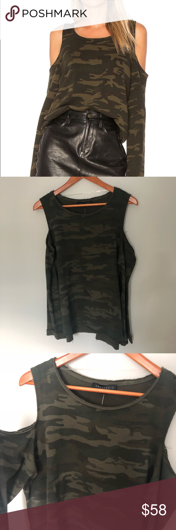 b92843809e8052 Sanctuary Green Camo Cold Shoulder Sweatshirt Sanctuary Green Camo Cold  Shoulder Sweatshirt. New with tags! On trend. No trades.