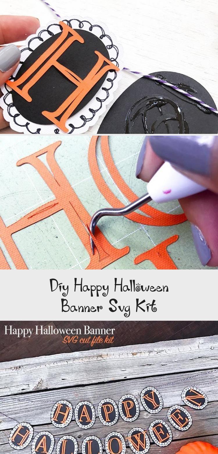 DIY Happy Halloween Banner SVG Kit - 100 Directions #bannerCumpleaos #bannerIllustration #Photobanner #bannerLetters #bannerDigitales #happyhalloweenschriftzug