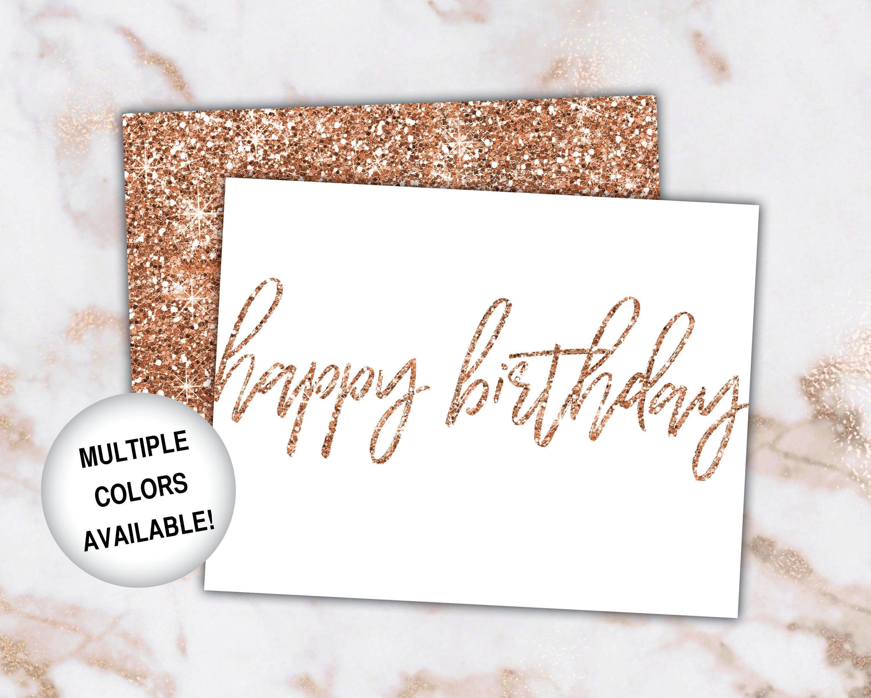Printable Birthday Cards Rose Gold Birthday Cards Happy Birthday Card Template Rose Gold Glitter Rose Gold Glitter Printed A2 Size Birthday Card Printable Birthday Card Template Birthday Cards