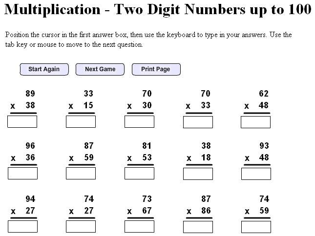 Printable Multiplication Worksheets Th Grade  Multiplication