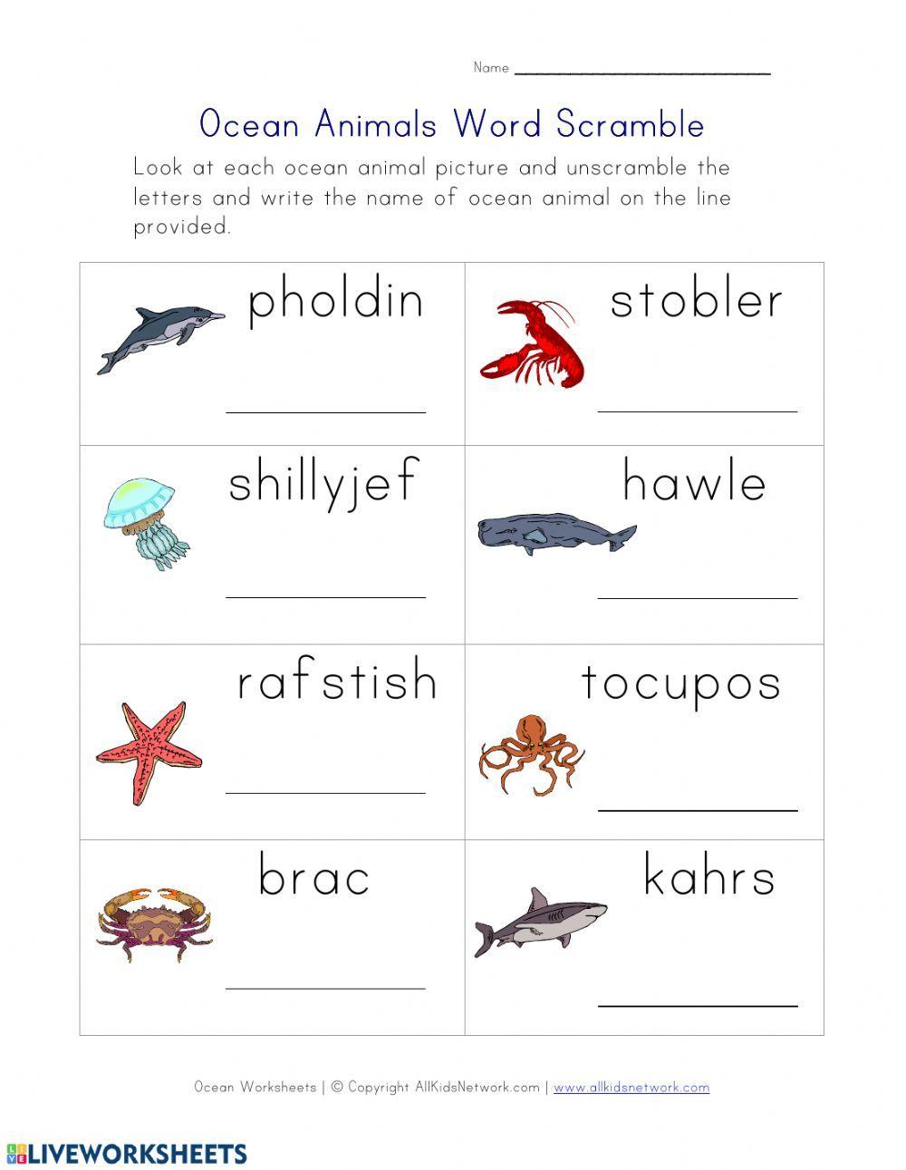Unscramble Ocean Animals Interactive Worksheet Kindergarten Worksheets Ocean Words Kindergarten Worksheets Printable [ 1291 x 1000 Pixel ]