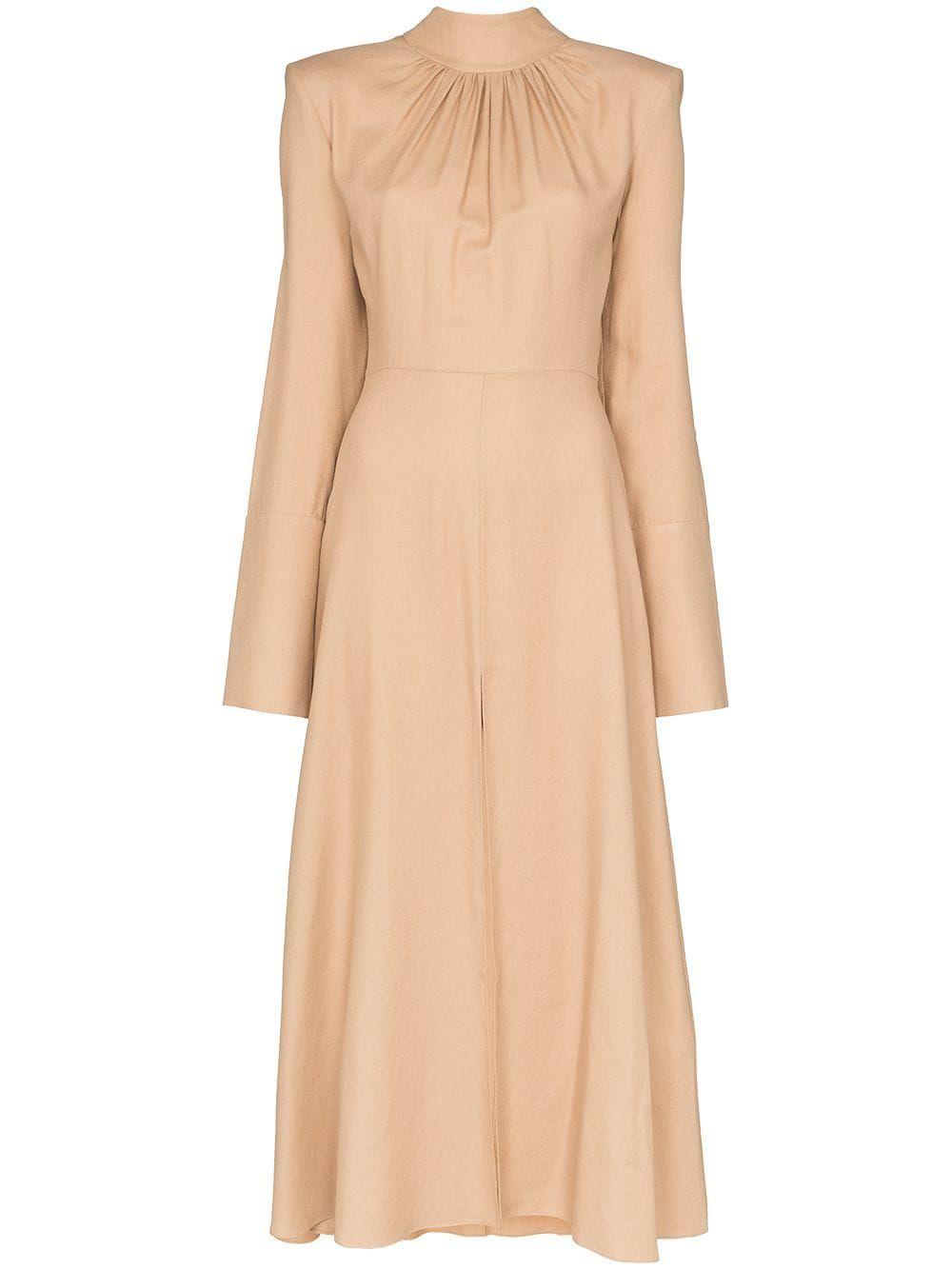 Aleksandre Akhalkatsishvili High Neck Pleated Midi Dress Farfetch Pleated Midi Dress Midi Ruffle Dress Cotton Midi Dress