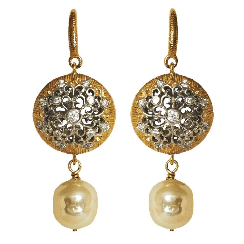 Kasi Jewellery Pearl And Silver Coin Earrings