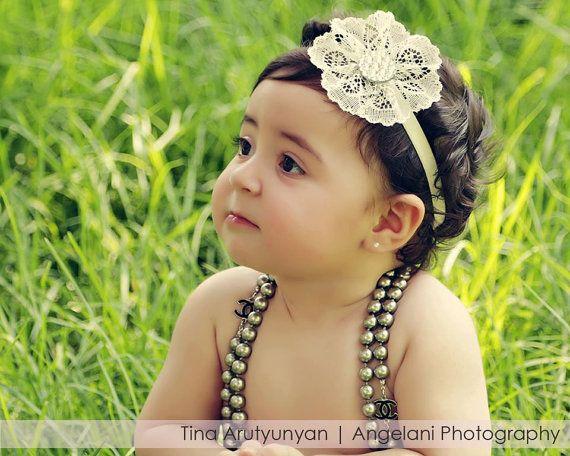 flower headband newborn photography flower girls photo prop Gold metallic Flower headband baptism, chic crystals hair accessories