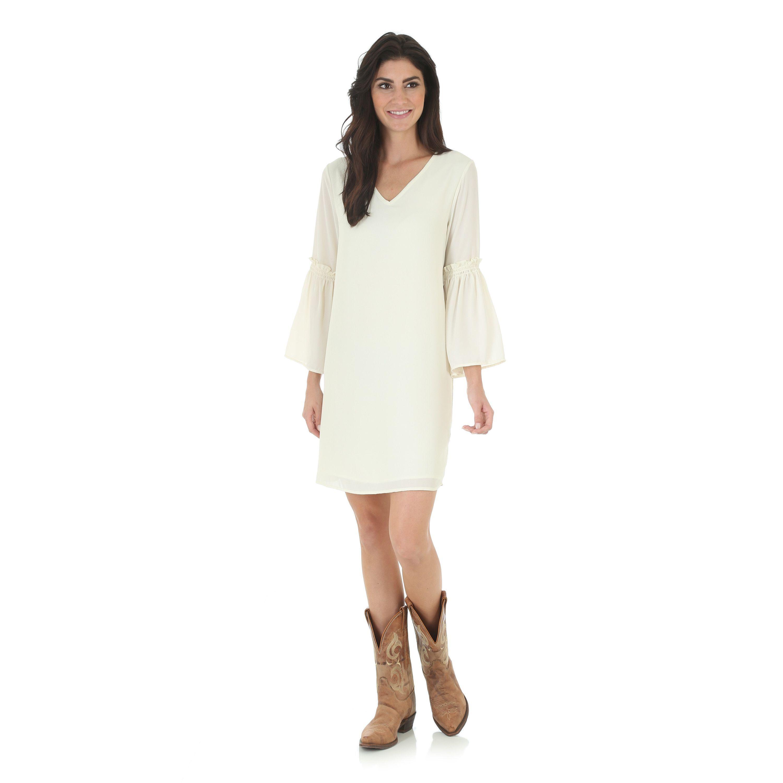 Wrangler womenus vneck tunic w flutter sleeves flutter sleeve