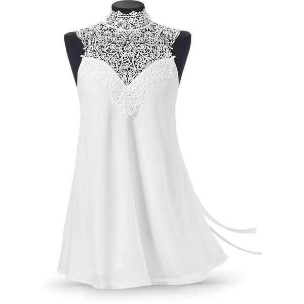 Ivory Lace  Chiffon Women's Tunic Top Size Large ($80) ❤ liked on Polyvore featuring tops, tunics, shirts, white, long white shirt, white shirt, long white tunic, sexy shirts and sexy lace shirts
