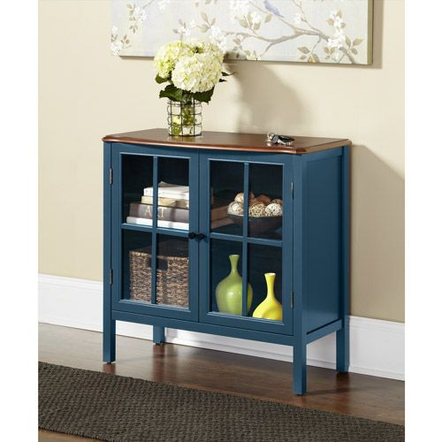 10 Spring Street Hinsdale 2 Door Cabinet Deep Teal Furniture Walmart Com Console Cabinet Glass Cabinet Doors Green Cabinets