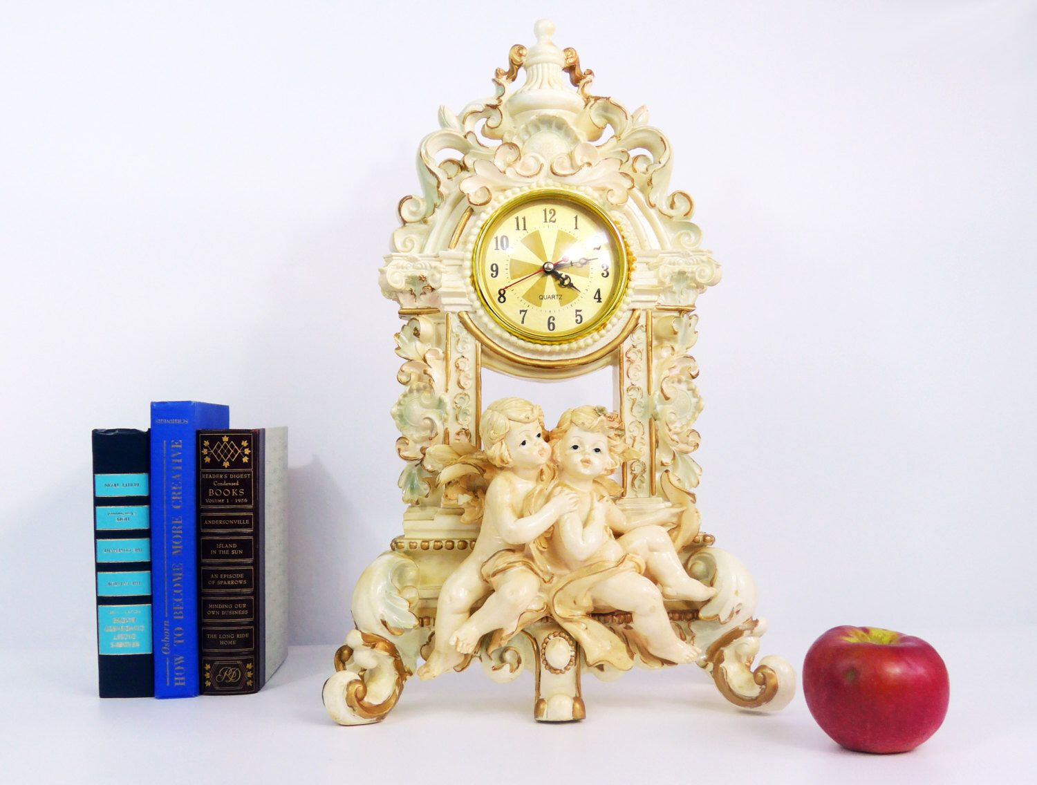 Vintage Mantle Clock Angels Cherubs Hollywood Regency - Baroque ...
