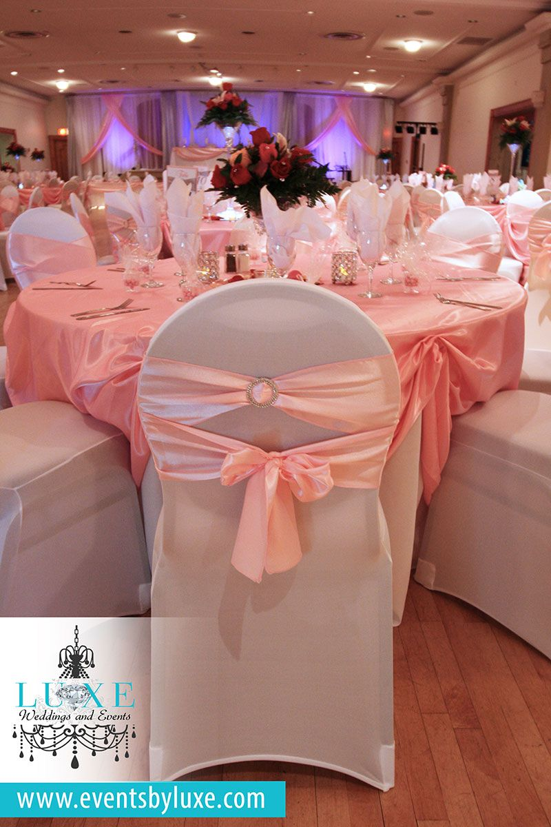 Pink And White Quinceanera Decor White Stretch Chair Covers Pink