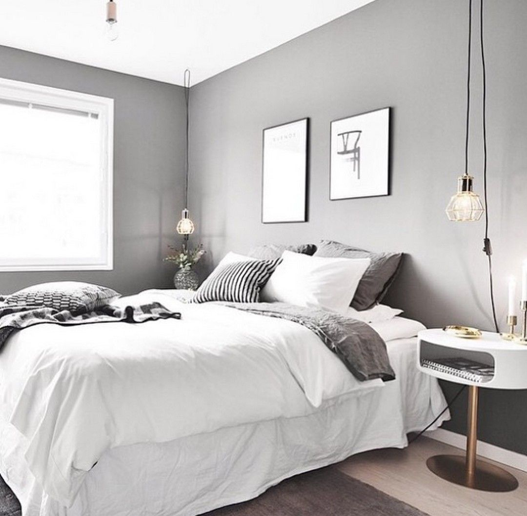 Master bedroom grey and white   White And Grey Master Bedroom Interior Design  Master bedroom