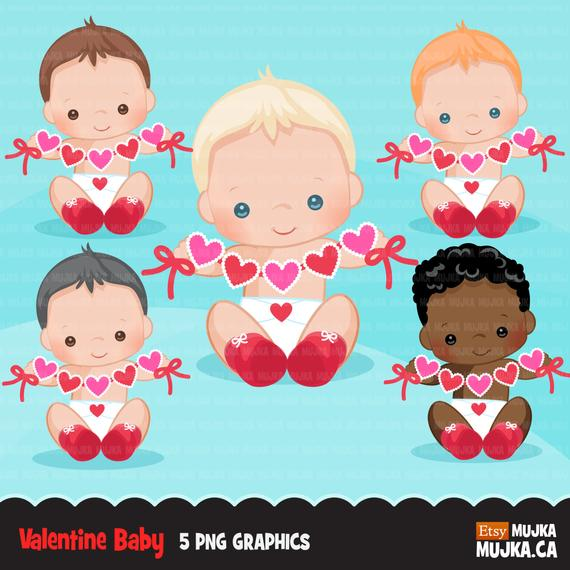 Valentine S Day Baby Clipart Cute Baby Boys With Heart Etsy Valentines Day Baby Scrapbooking Set Valentine Clipart