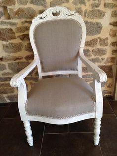 Du blanc et du lin pour ce fauteuil Voltaire restauré   relooking ...