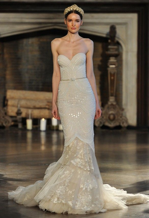 37c7603f0efb The neckline, beading, belt, and exposed lace bottom all play together to  make this gown a stunner. // Inbal Dror. Bridal Fashion Week Fall 2015 ...