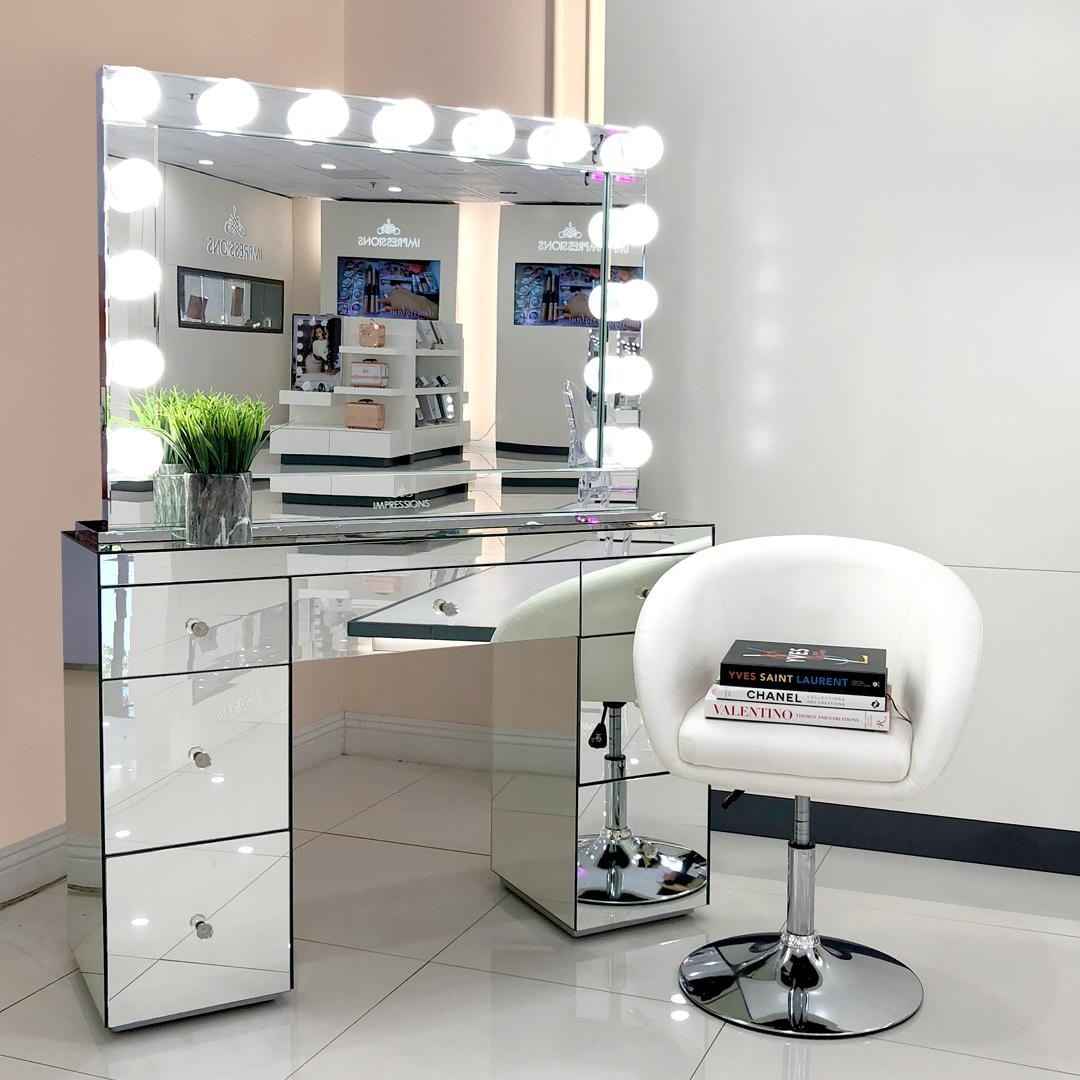 Abby Premium Mirrored Vanity Table Impressions Vanity Co Mirrored Vanity Table Hollywood Vanity Mirror Beauty Room Vanity