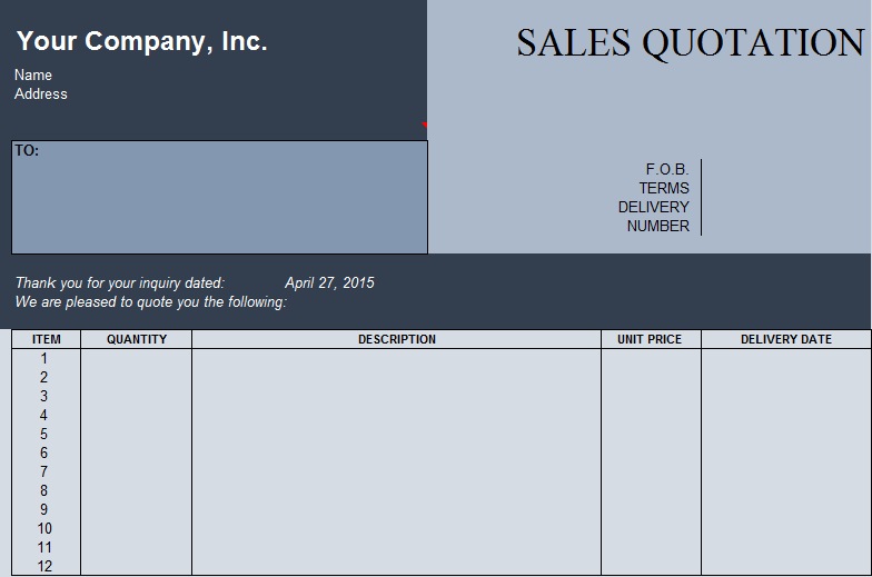 Sales Quotation Template in Excel Format ExcelDox – Official Quotation Format
