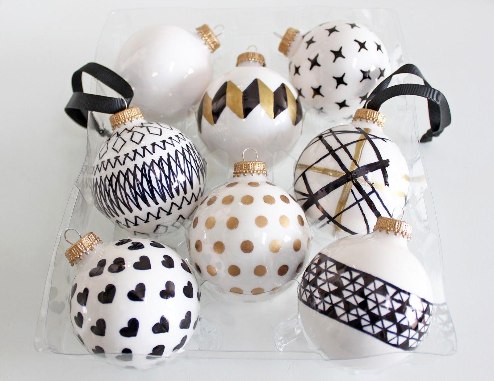 Diy Handpainted Holiday Ball Ornaments Diy Christmas Ornaments Easy Easy Christmas Diy Black White And Gold Christmas