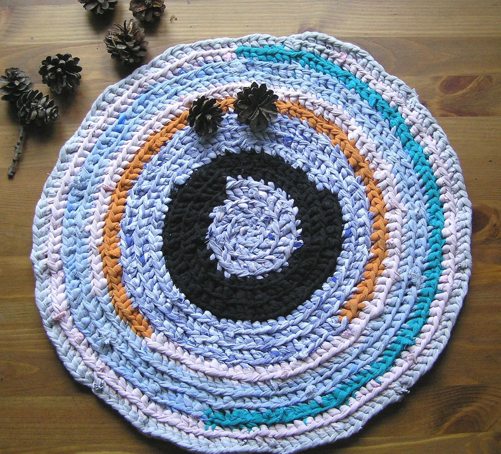Blue Seat Mat Crochet Cats Bed Crochet Round Blue Play Mat, Small Rag Rug,  Multicoloured Multicolored Small Round Crochet Cat Cat Mat, Chair Seat Pad,  ...