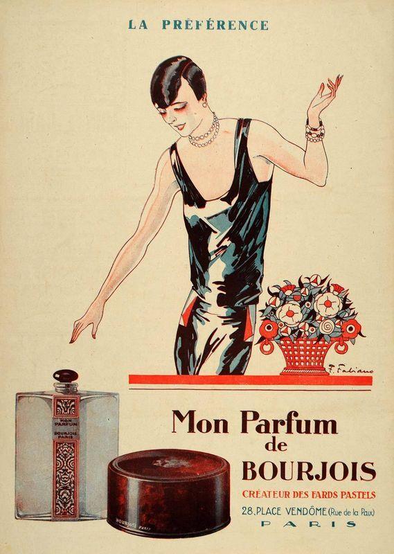 1926 Vintage Art Deco French Ad Mon Parfum Bourjois Deco Adverts
