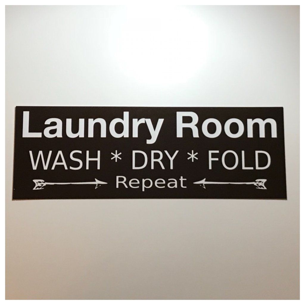 Laundry Room Wash Dry Fold Repeat Black Sign Laundry Room Wall Signs Hanging Signs