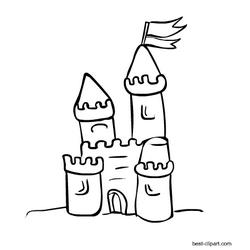 Black And White Sand Castle Clip Art Free Clip Art Clip Art Art Images