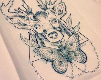 cerf abstraite et papillon tatouage design !