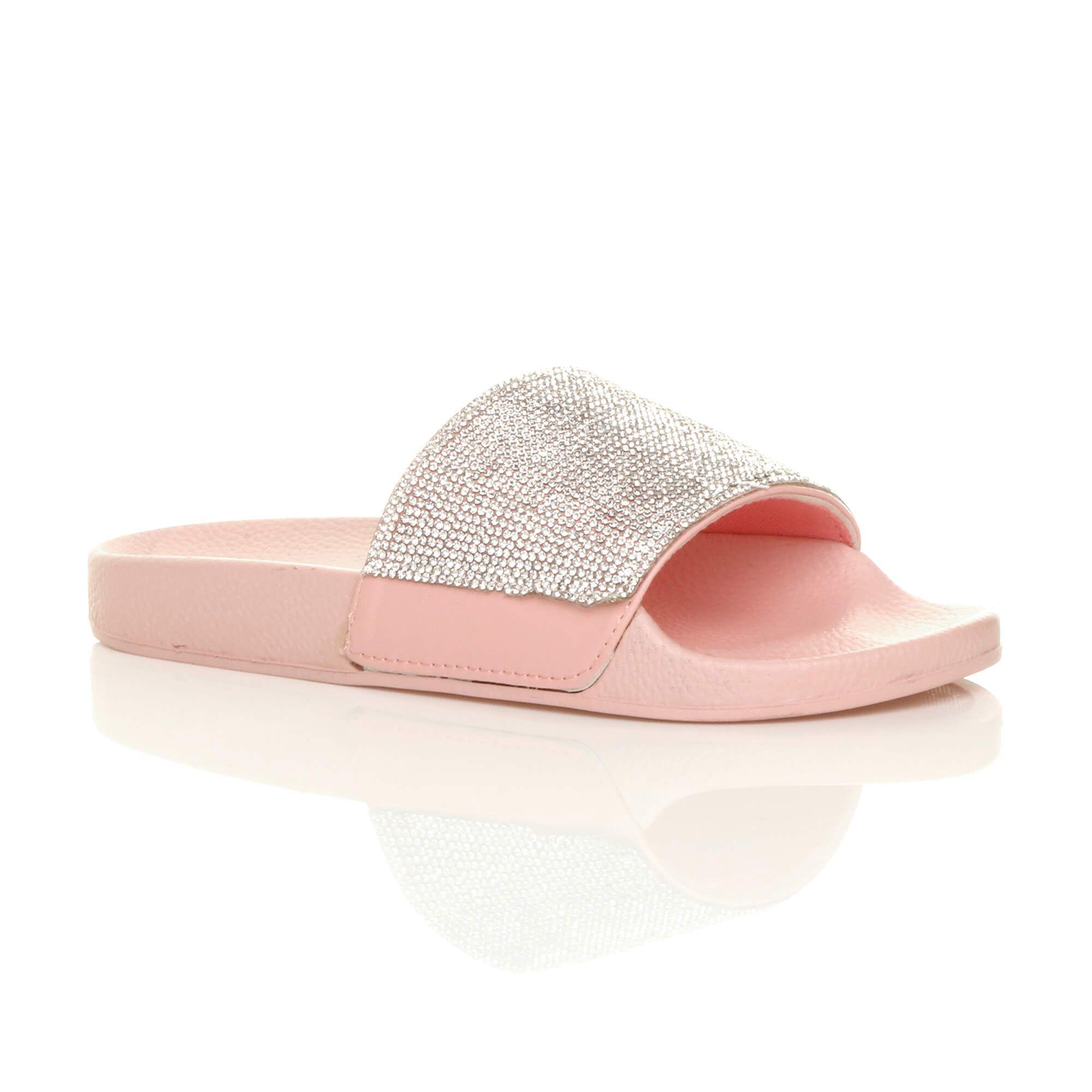 Flat Diamante Flip Flops Sliders Sandals – H3586