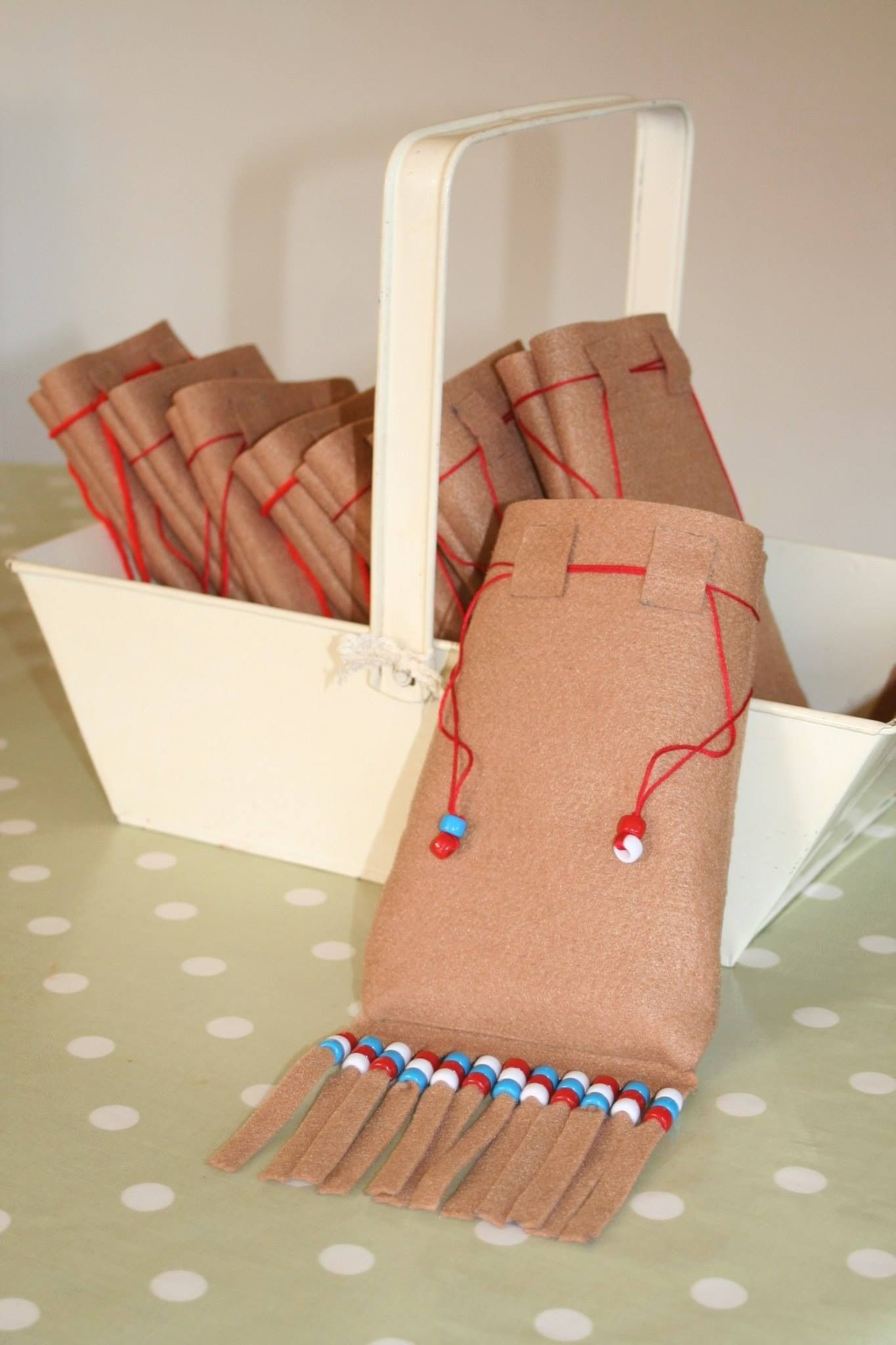 Party bags for Pocahontas party - Tutorial on website. X