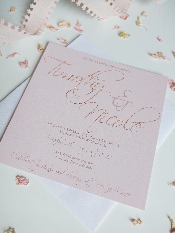 Rose Gold and Blush Wedding Invitation set, Wedding Invite, RSVP ...