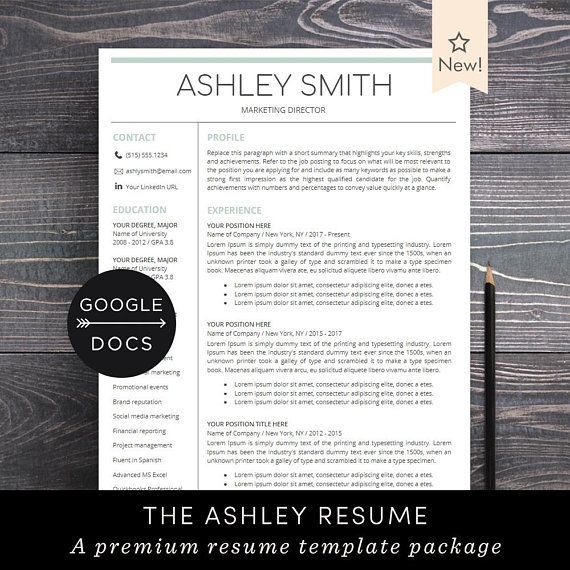 Google Docs Resume Template Professional Resume CV Template + Free