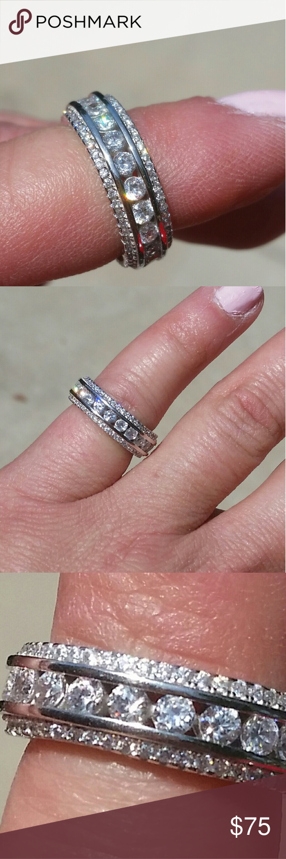 CZ Silver Wedding Ring/Wedding Band This is amazing cubic zirconia ...