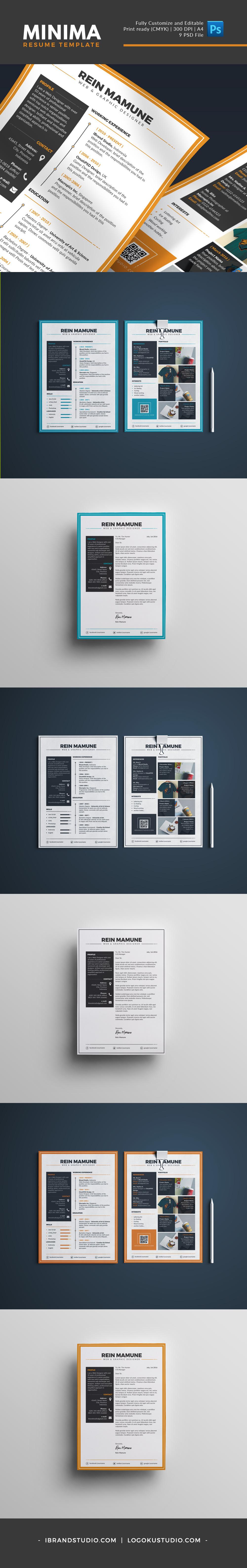 Free Minima Resume Template (3 Colors, PSD)