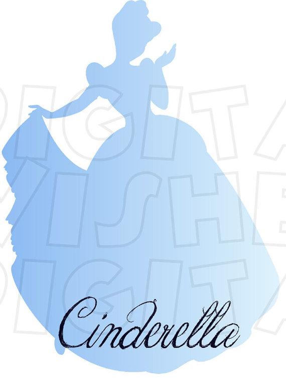cinderella silhouette digital iron on transfer clip art