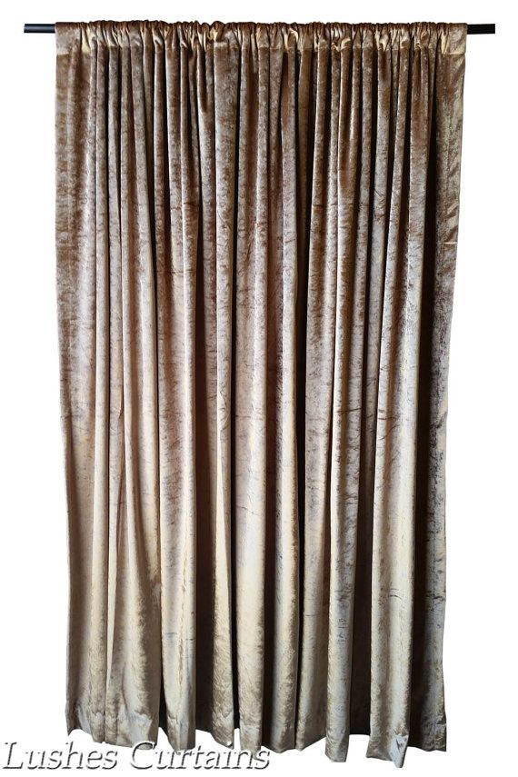 Gold Velvet Curtain Panel 144 Inch Long For Extra Tall Ceiling