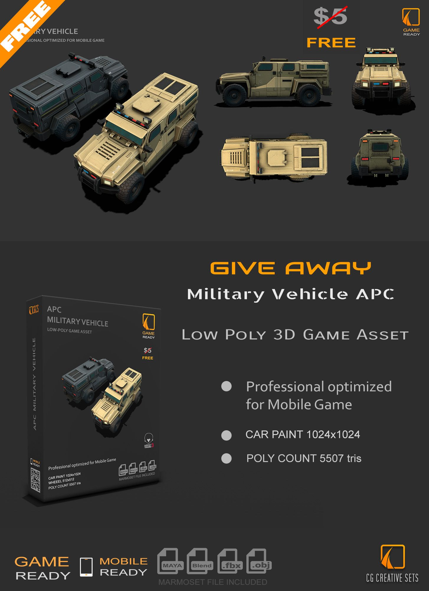 Free 3d Military Vehicle Apc Game Asset In 2020 Game Assets Low