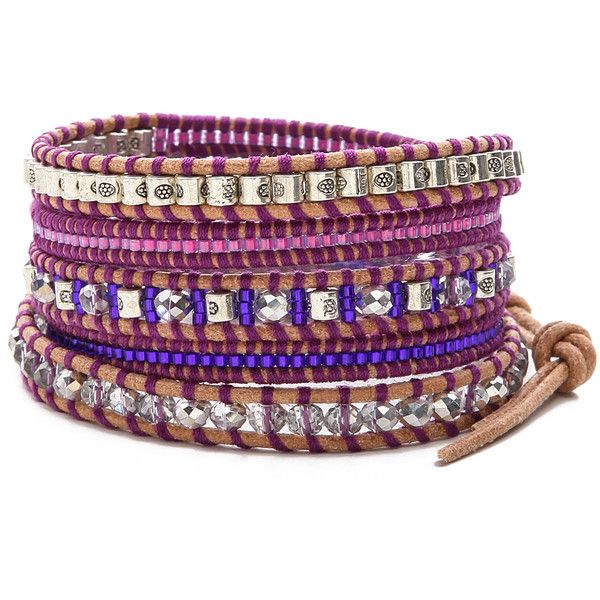 Chan Luu Beaded Wrap Bracelet - Purple Mix/Beige ($170) found on Polyvore