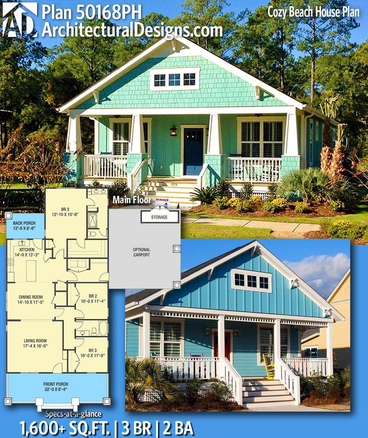 Plan 50168ph Cozy Beach House Plan With Optional Carport Beach House Plans Narrow Lot House Plans Beach House Plan