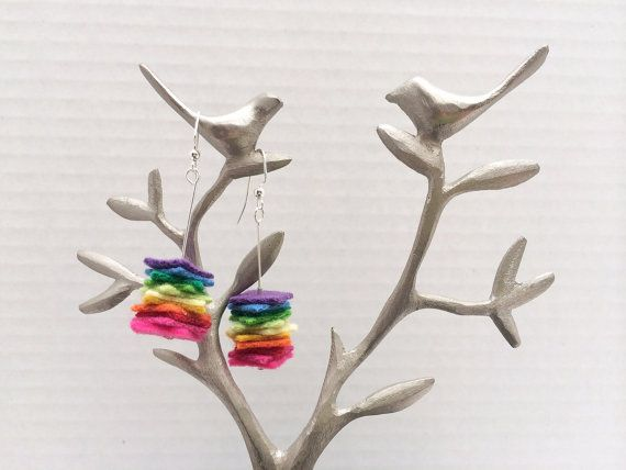 Aromatherapy dangle earrings, felt earrings, essential oil diffuser, colorful jewelry, felt jewelry, rainbow, bridesmaid gift, gay pride on Etsy, $22.00