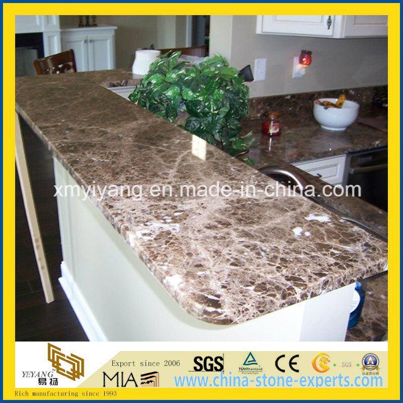 Prefabricated Dark Emperador granite countertop & vanity top & & island top with factory price