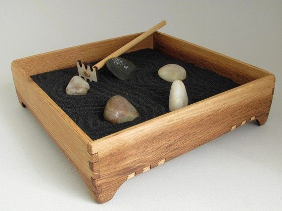 Mini Zen Garden Karesansui With Black Sand Red Oak Garden Box With Stones And Rake Sustainable Wood Timber Green Woods 55 00 Mini Zen Garden Garden Boxes Miniature Zen Garden