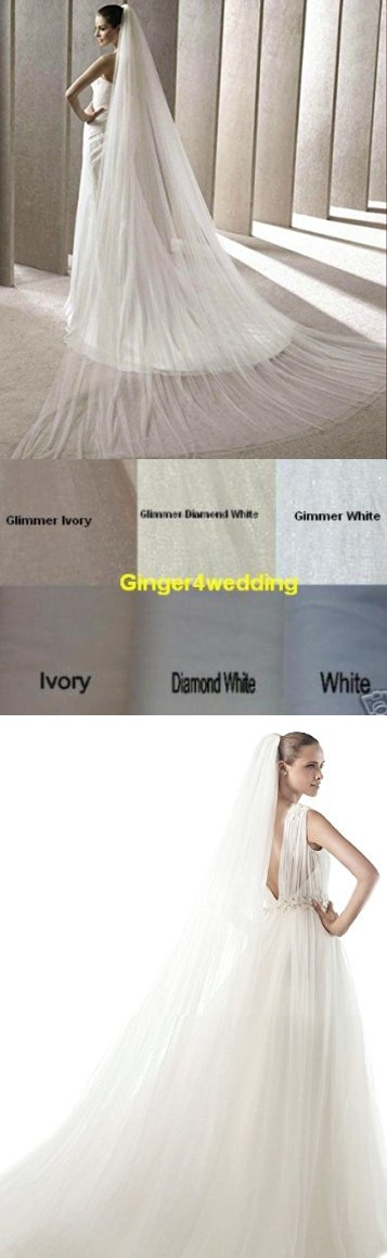 Shop Ginger Wedding Handmade Double Layer 2T Bridal Veil Cut Edge (Royal, Glimmer White)