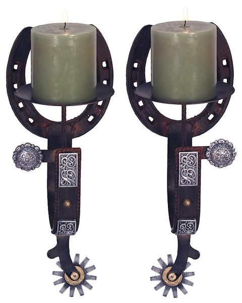 Cast Iron Horseshoes And Spurs Candle Holders 1091 Candle Holder