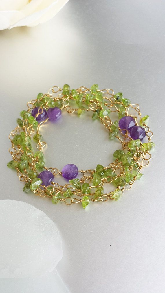 Gemstone Jewelry -Peridot Gemstone Necklace -Amethyst Necklace -Rosary Style Necklace -August Birthstone -Extra Long Necklace -Vibrant -Gift