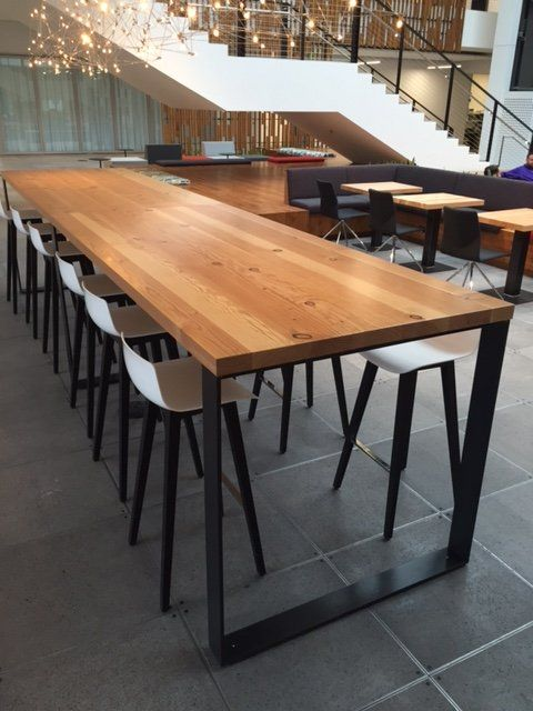 Windfall Lumber Reclaimed Douglas Fir Community Table Tapered Sled Base Microsoft Redmond Wa Industrial Office Table Office Table Design Wood Bar Table