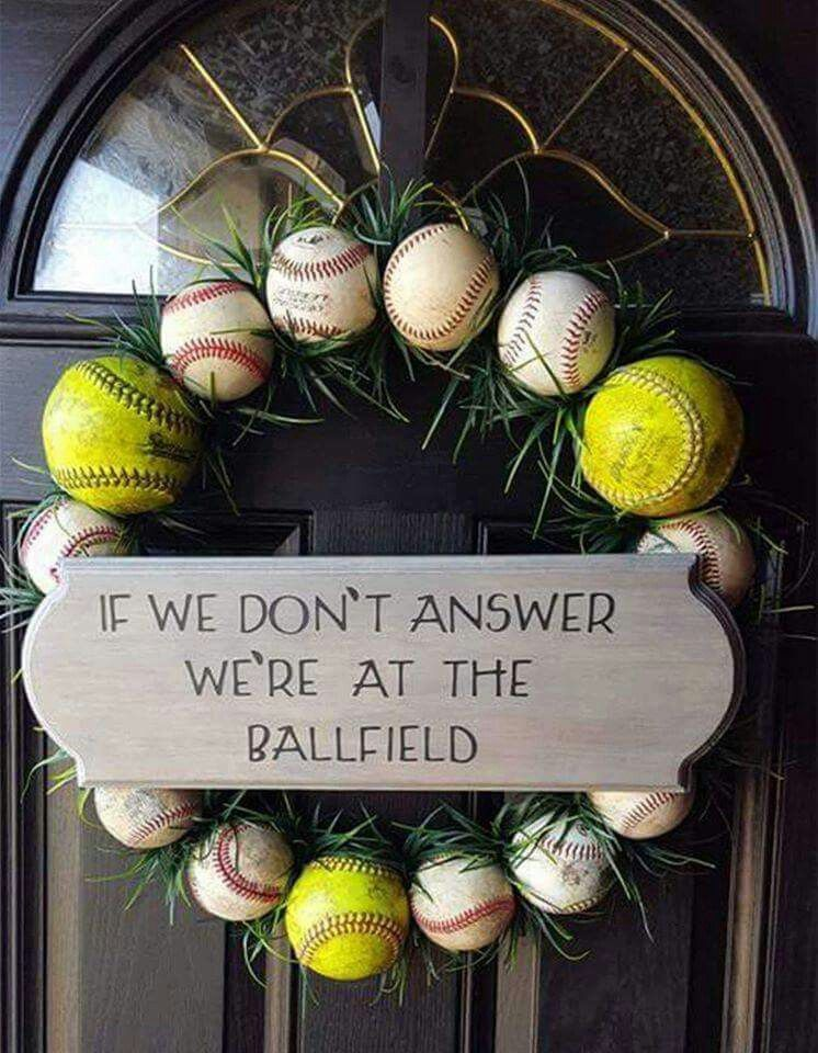 Diy Baseball Or Softball Wreath Baseball Wreath Baseball Wreaths